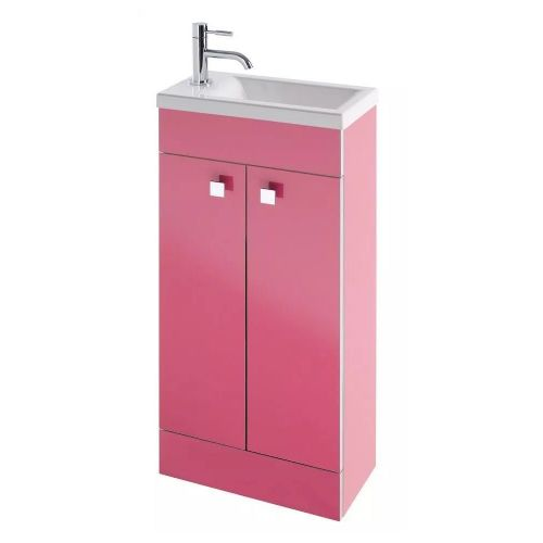 Eastbrook Oslo Floor Standing Vanity Unit With Chrome Trim - 390mm Wide - Pink